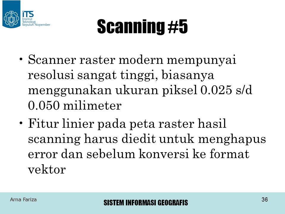 Scanning #5 Scanner raster modern mempunyai resolusi sangat tinggi, biasanya menggunakan ukuran piksel 0.025 s/d 0.050 milimeter.