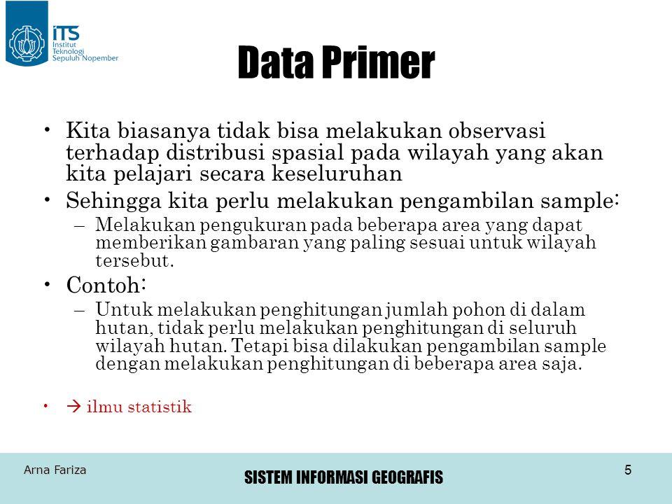 Data Primer Kita biasanya tidak bisa melakukan observasi terhadap distribusi spasial pada wilayah yang akan kita pelajari secara keseluruhan.