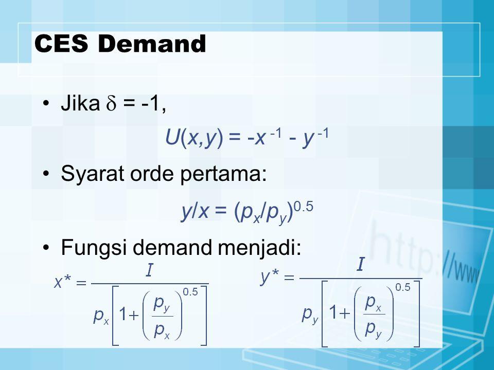 CES Demand Jika  = -1, U(x,y) = -x -1 - y -1 Syarat orde pertama: