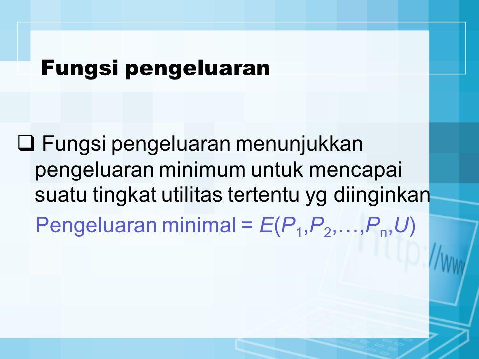 Pengeluaran minimal = E(P1,P2,…,Pn,U)