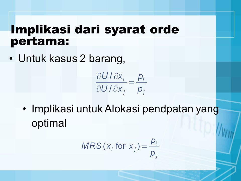 Implikasi dari syarat orde pertama: