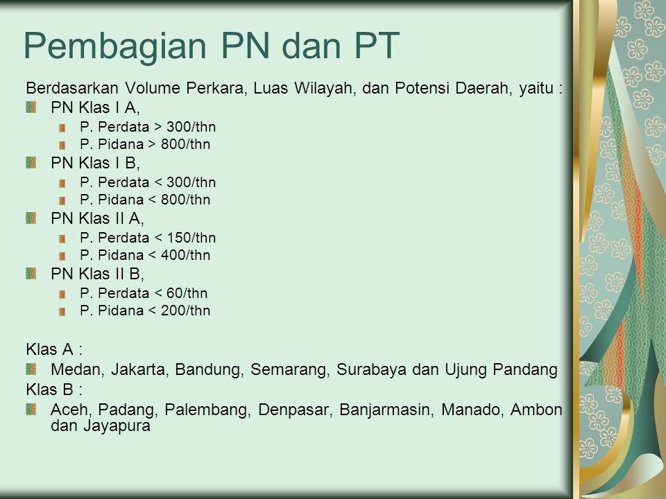 Pembagian PN dan PT Berdasarkan Volume Perkara, Luas Wilayah, dan Potensi Daerah, yaitu : PN Klas I A,