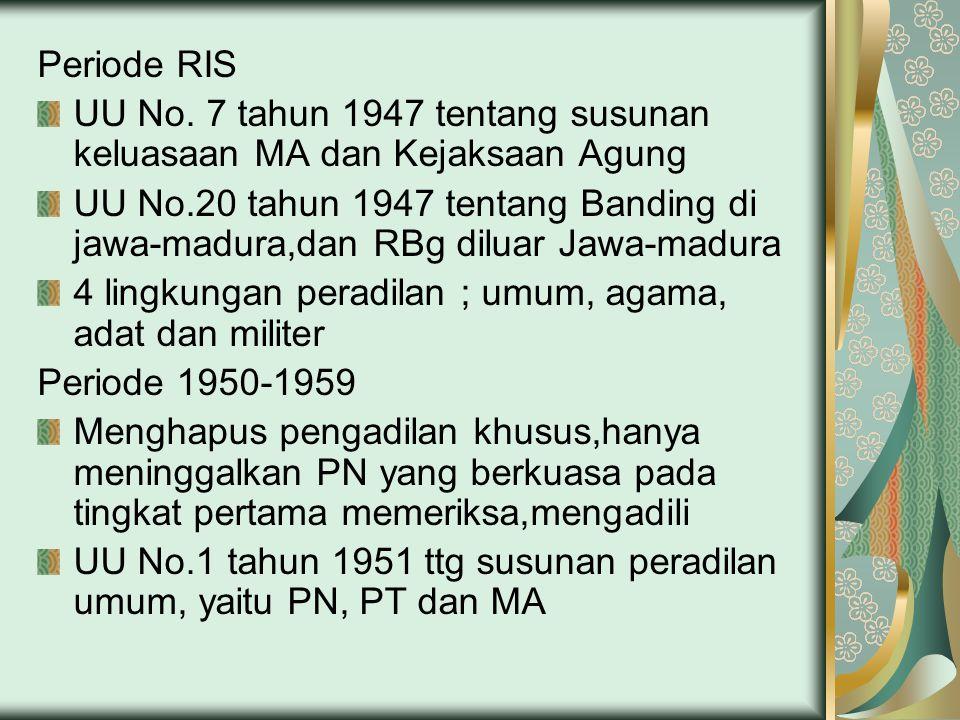 Periode RIS UU No. 7 tahun 1947 tentang susunan keluasaan MA dan Kejaksaan Agung.