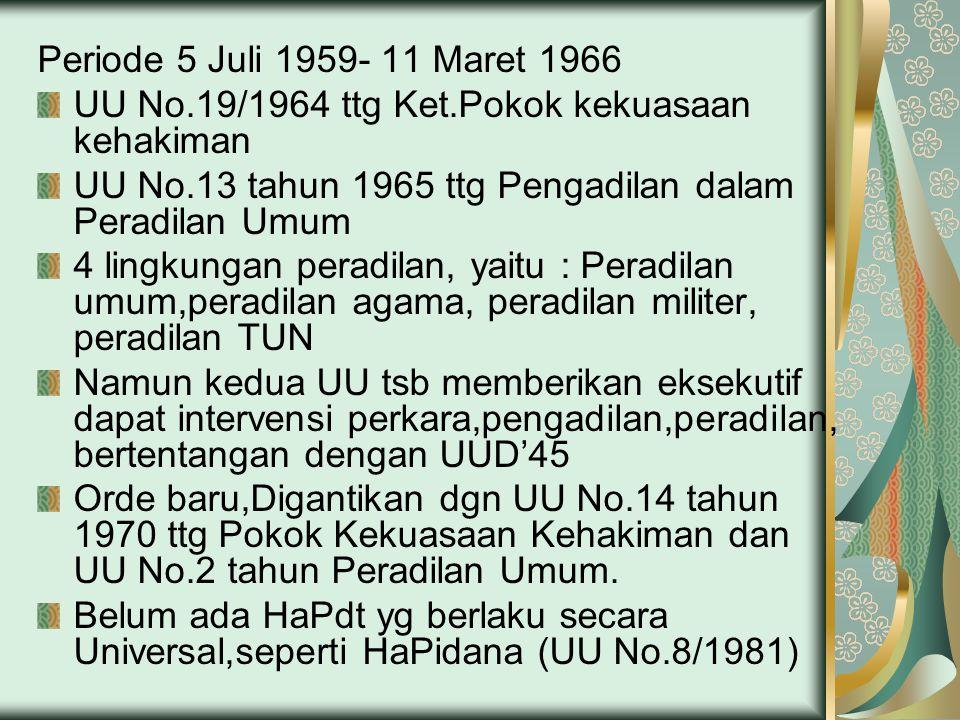 Periode 5 Juli 1959- 11 Maret 1966 UU No.19/1964 ttg Ket.Pokok kekuasaan kehakiman. UU No.13 tahun 1965 ttg Pengadilan dalam Peradilan Umum.
