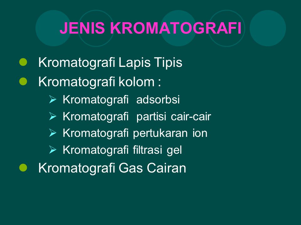 JENIS KROMATOGRAFI Kromatografi Lapis Tipis Kromatografi kolom :