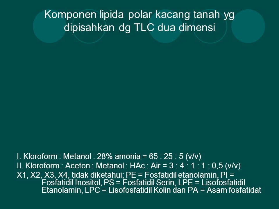 Komponen lipida polar kacang tanah yg dipisahkan dg TLC dua dimensi