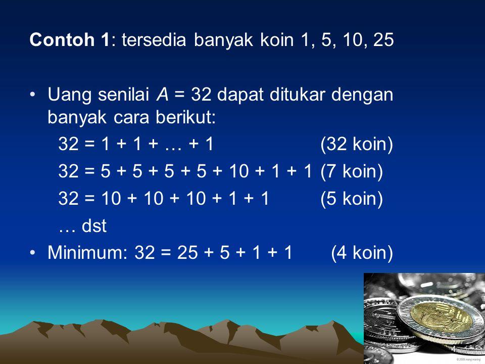 Contoh 1: tersedia banyak koin 1, 5, 10, 25