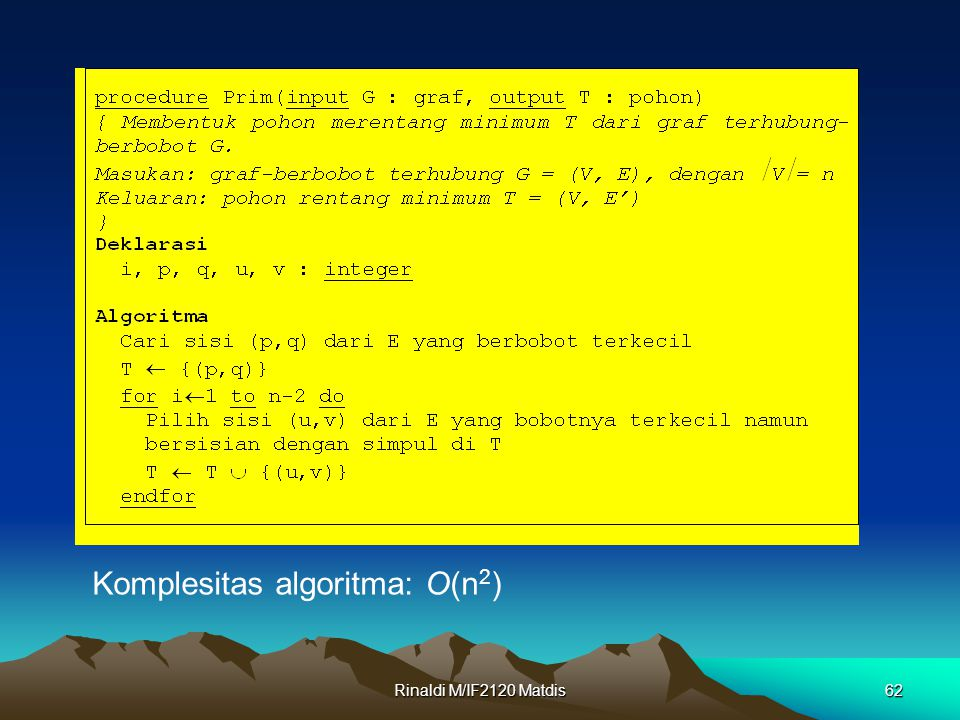 Komplesitas algoritma: O(n2)