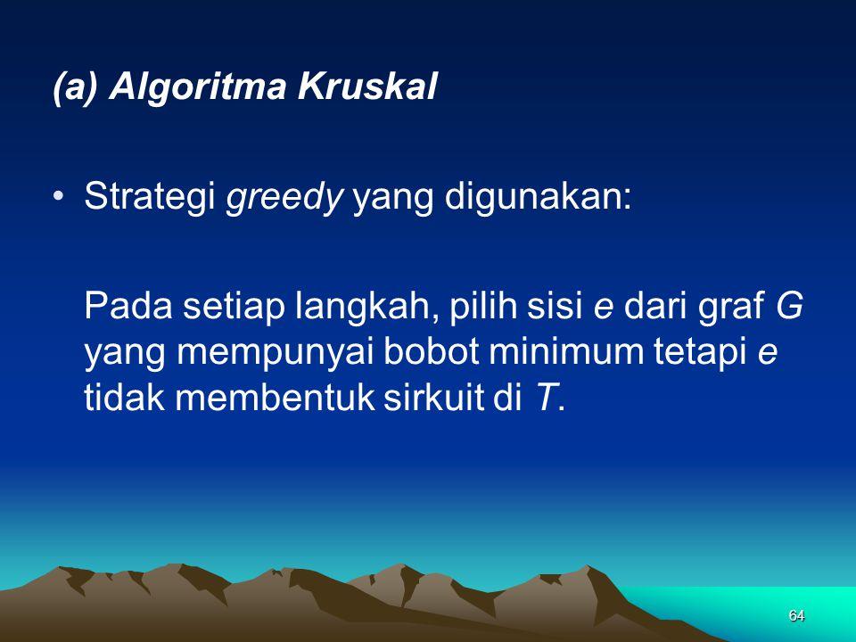 (a) Algoritma Kruskal Strategi greedy yang digunakan: