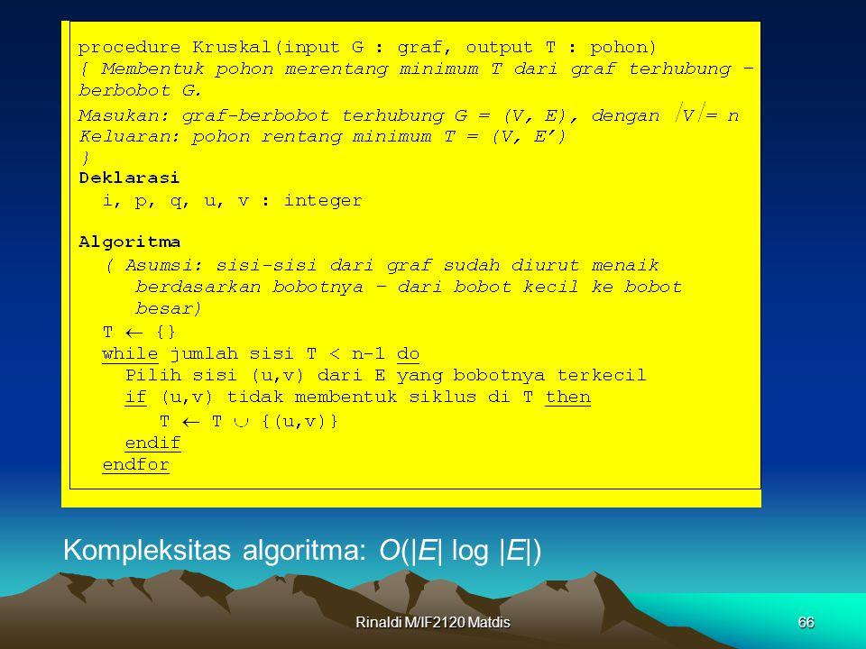 Kompleksitas algoritma: O(|E| log |E|)