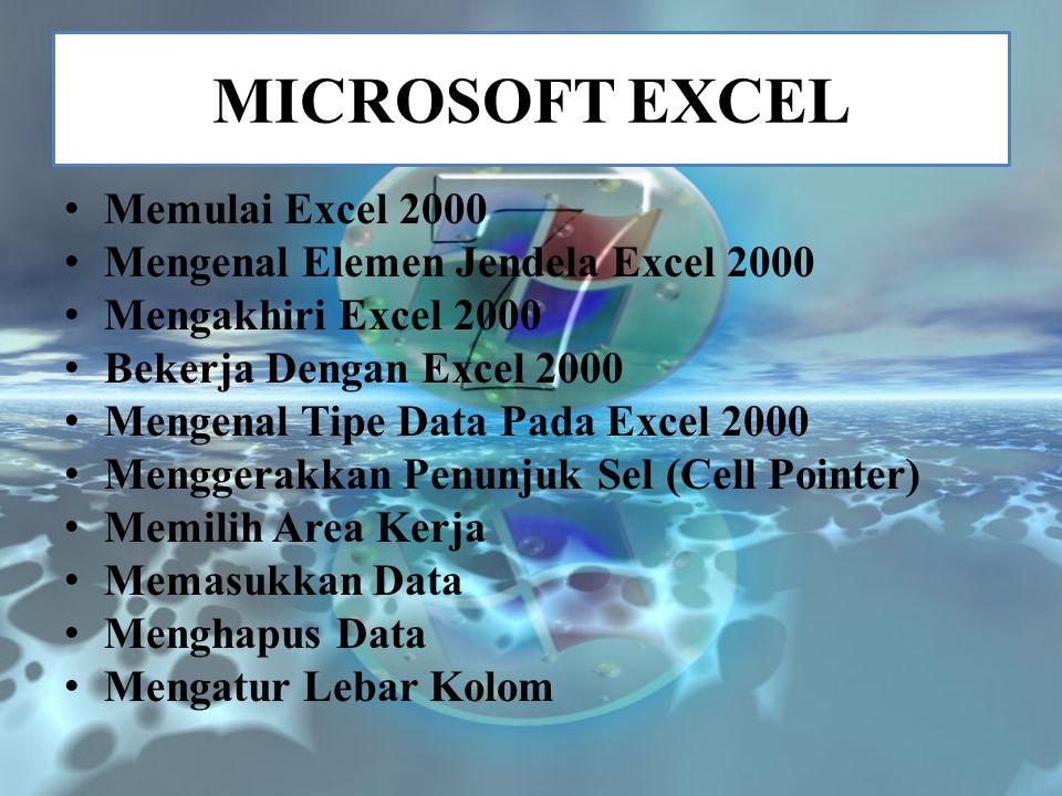 MICROSOFT EXCEL Memulai Excel 2000 Mengenal Elemen Jendela Excel 2000