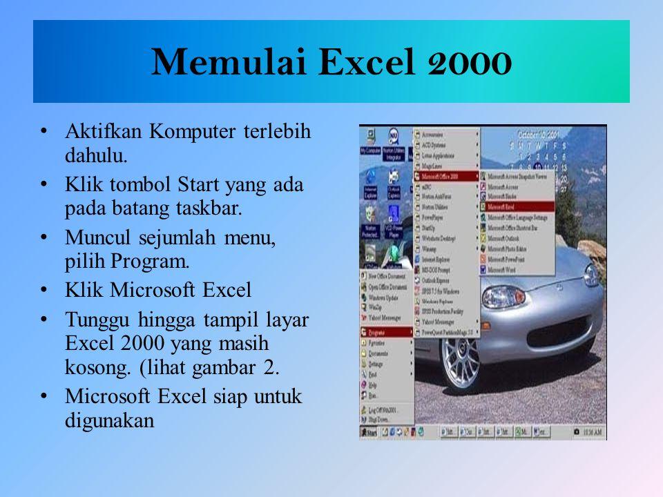 Memulai Excel 2000 Aktifkan Komputer terlebih dahulu.