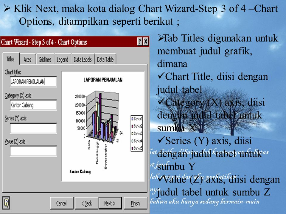 Klik Next, maka kota dialog Chart Wizard-Step 3 of 4 –Chart