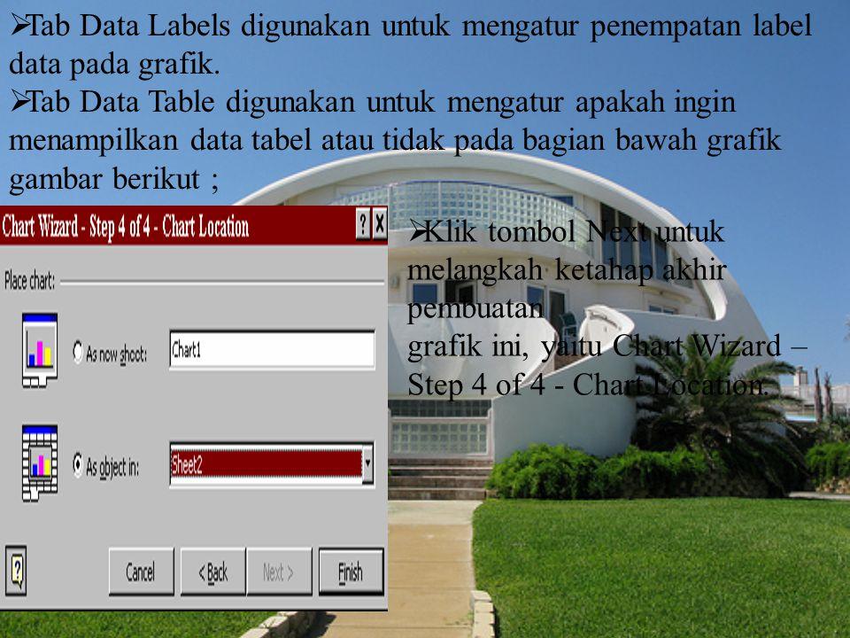 Tab Data Labels digunakan untuk mengatur penempatan label data pada grafik.
