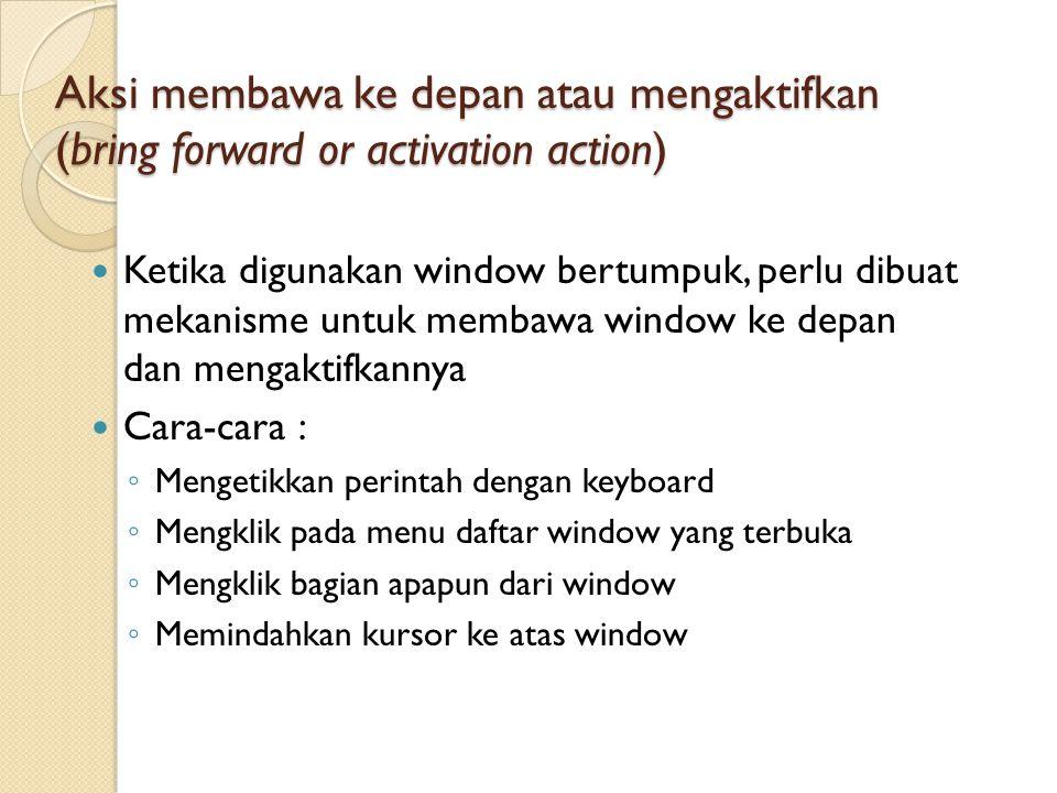 Aksi membawa ke depan atau mengaktifkan (bring forward or activation action)