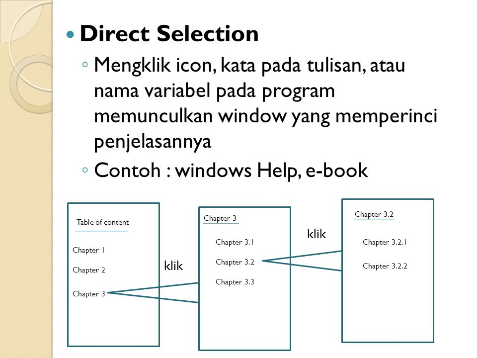 Direct Selection Mengklik icon, kata pada tulisan, atau nama variabel pada program memunculkan window yang memperinci penjelasannya.