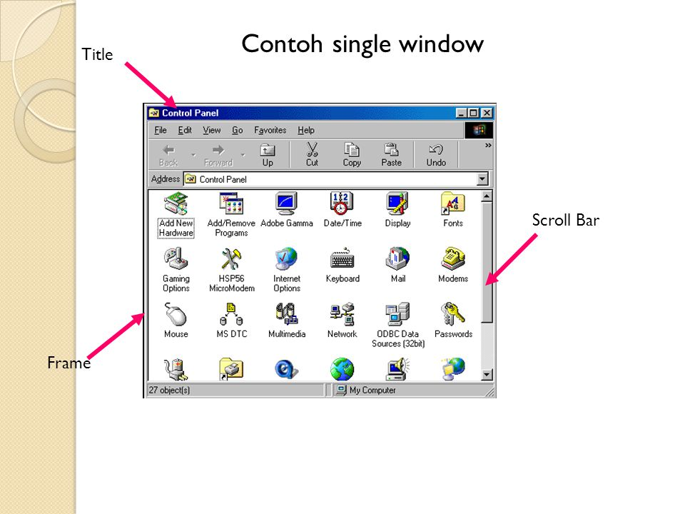 Contoh single window Title Scroll Bar Frame