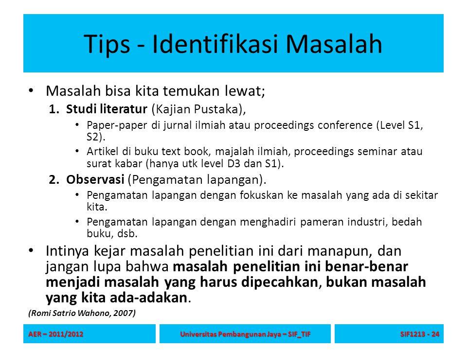 Tips - Identifikasi Masalah