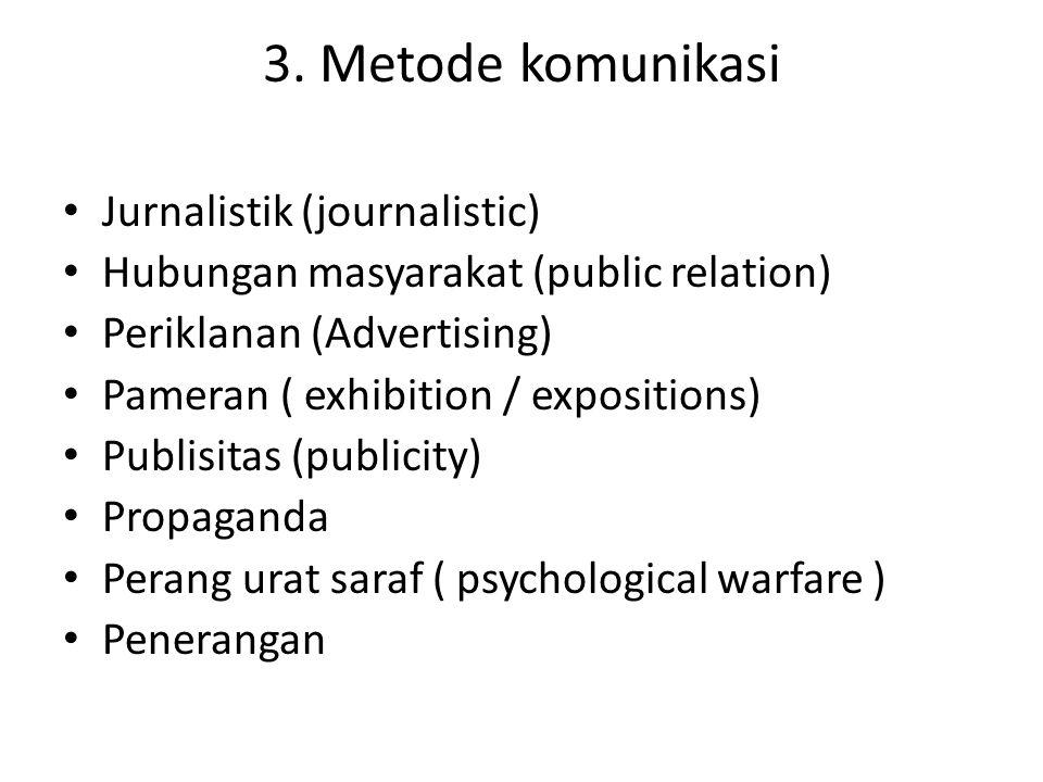 3. Metode komunikasi Jurnalistik (journalistic)