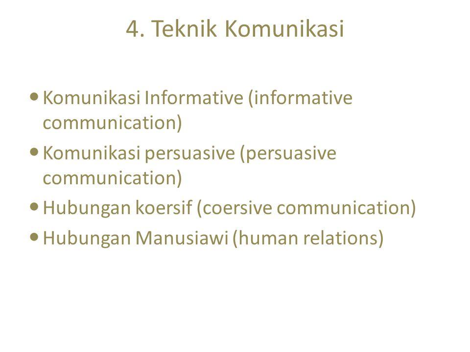 4. Teknik Komunikasi Komunikasi Informative (informative communication) Komunikasi persuasive (persuasive communication)