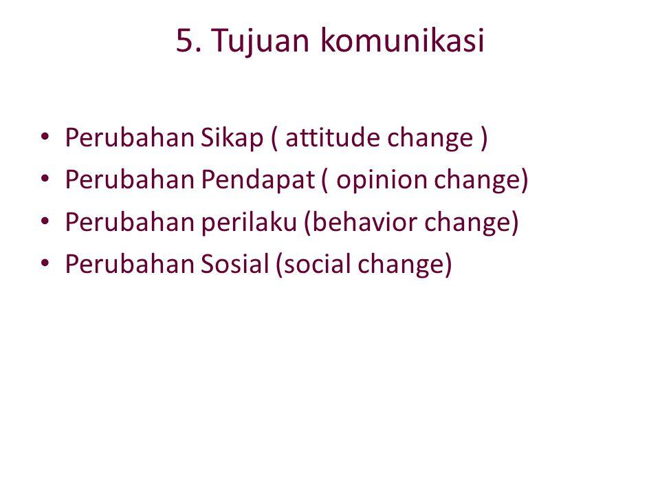 5. Tujuan komunikasi Perubahan Sikap ( attitude change )