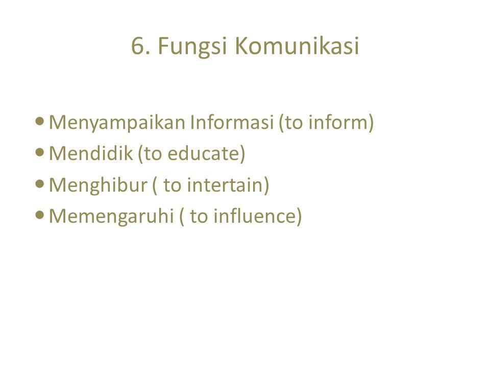 6. Fungsi Komunikasi Menyampaikan Informasi (to inform)