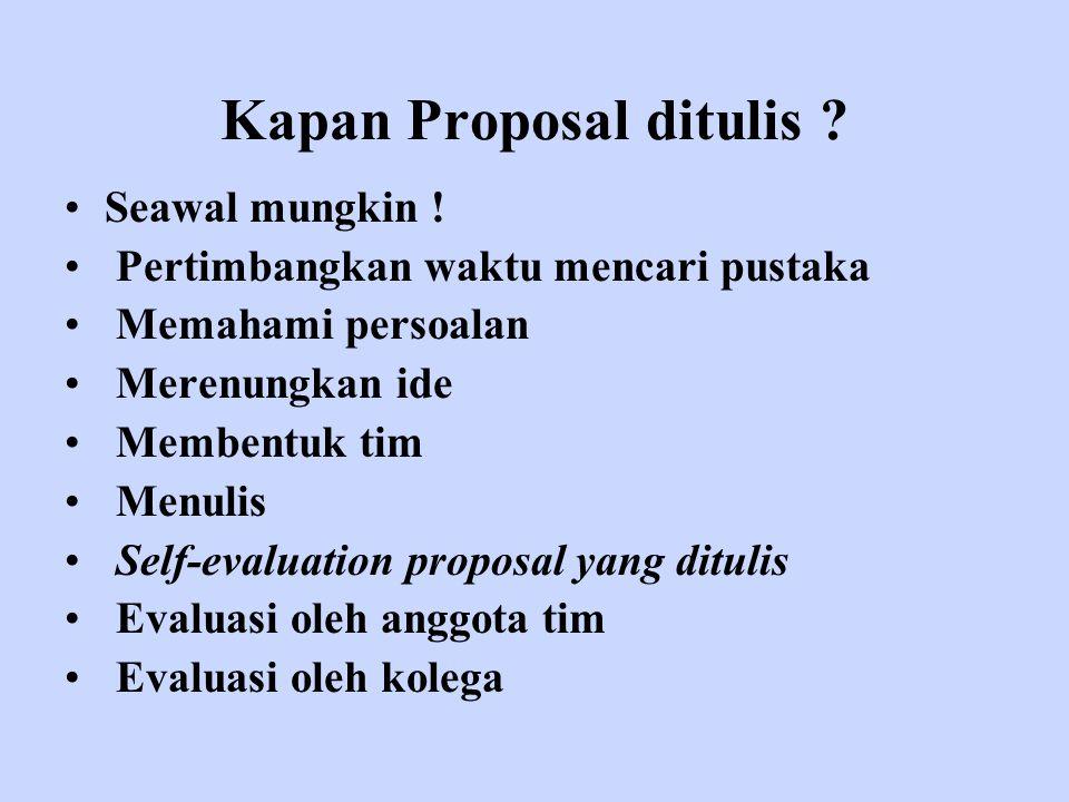 Kapan Proposal ditulis
