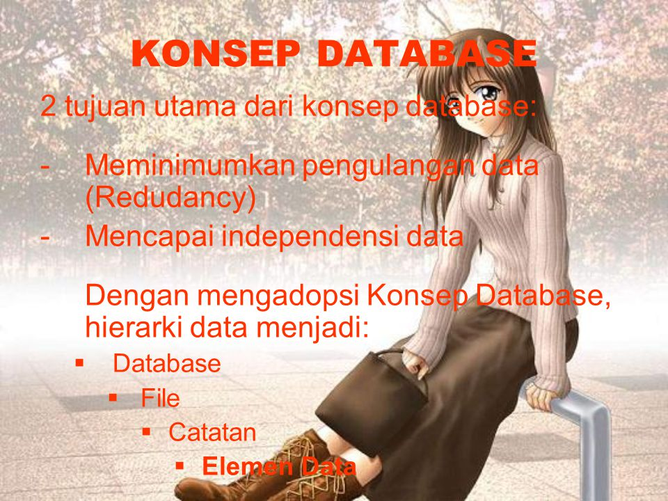 KONSEP DATABASE 2 tujuan utama dari konsep database: