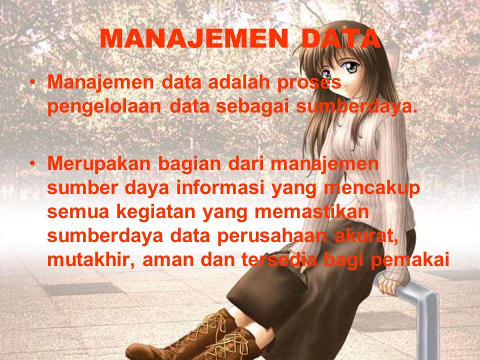 MANAJEMEN DATA Manajemen data adalah proses pengelolaan data sebagai sumberdaya.