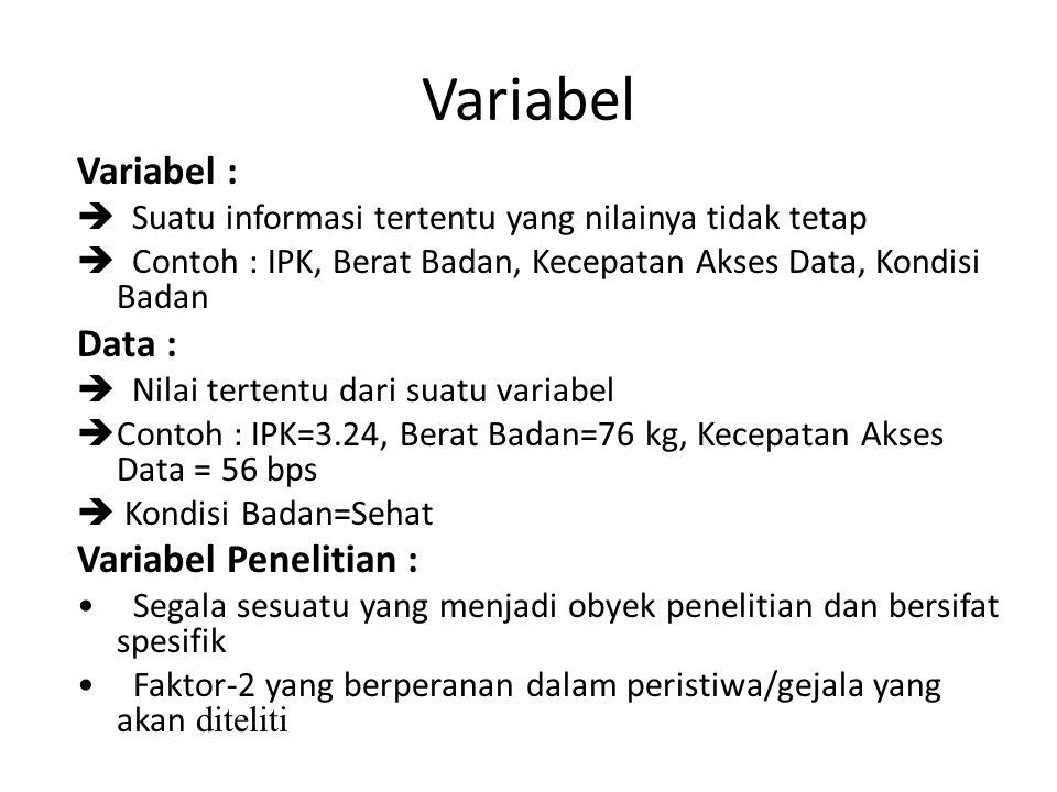 Variabel Variabel : Data : Variabel Penelitian :