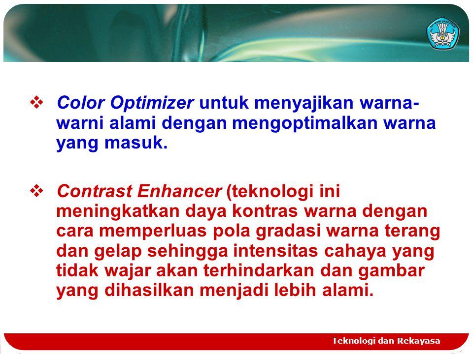 Color Optimizer untuk menyajikan warna-warni alami dengan mengoptimalkan warna yang masuk.