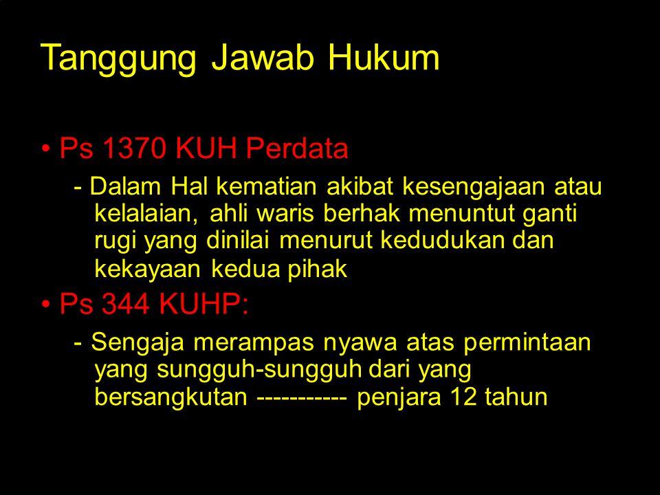 Tanggung Jawab Hukum • Ps 1370 KUH Perdata : • Ps 344 KUHP: