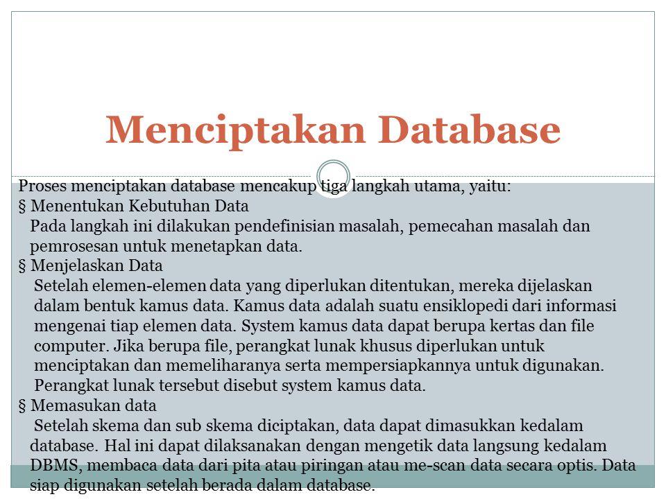 Menciptakan Database Proses menciptakan database mencakup tiga langkah utama, yaitu: § Menentukan Kebutuhan Data.