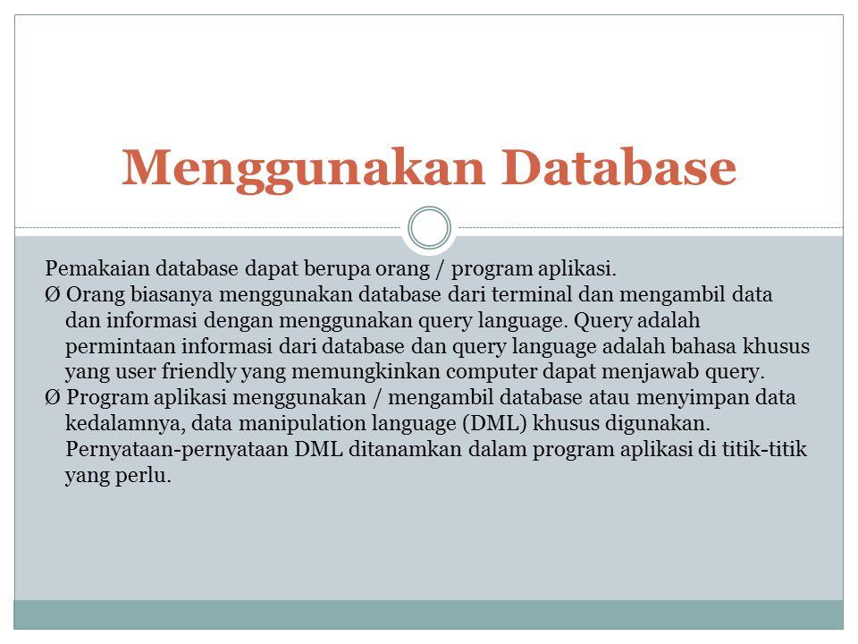 Menggunakan Database Pemakaian database dapat berupa orang / program aplikasi.
