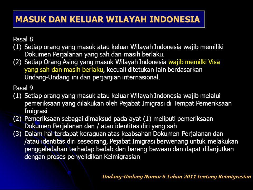 MASUK DAN KELUAR WILAYAH INDONESIA