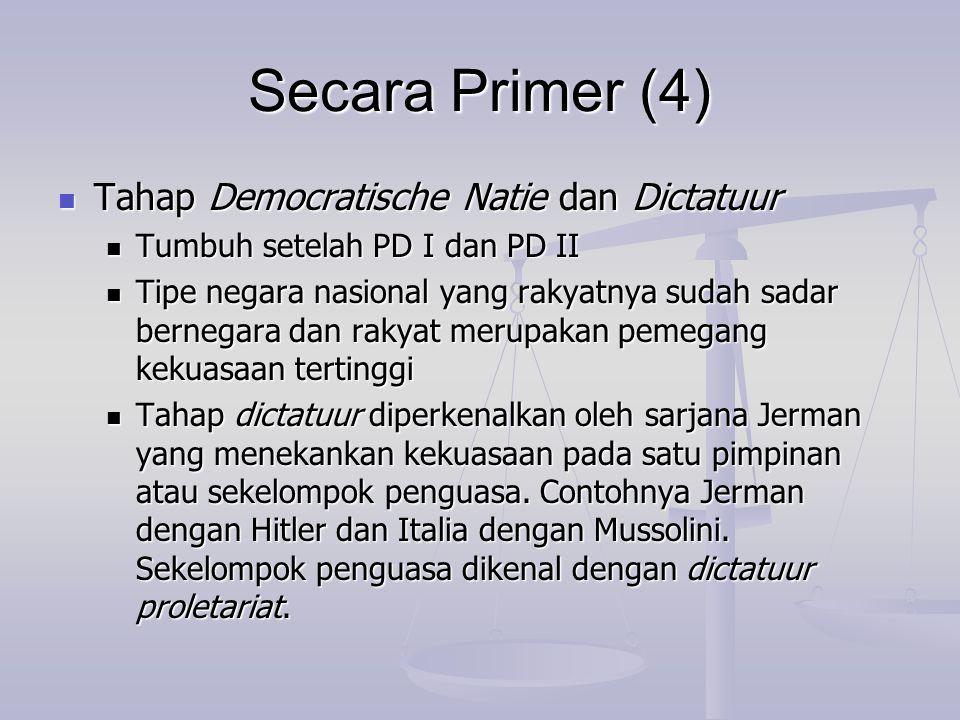 Secara Primer (4) Tahap Democratische Natie dan Dictatuur