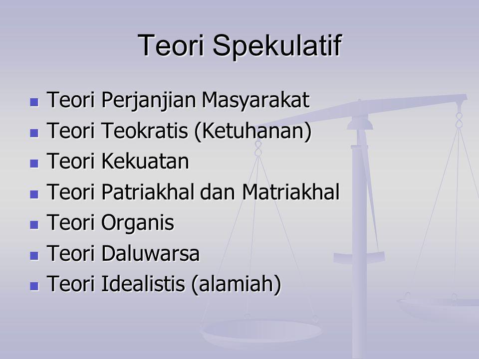 Teori Spekulatif Teori Perjanjian Masyarakat