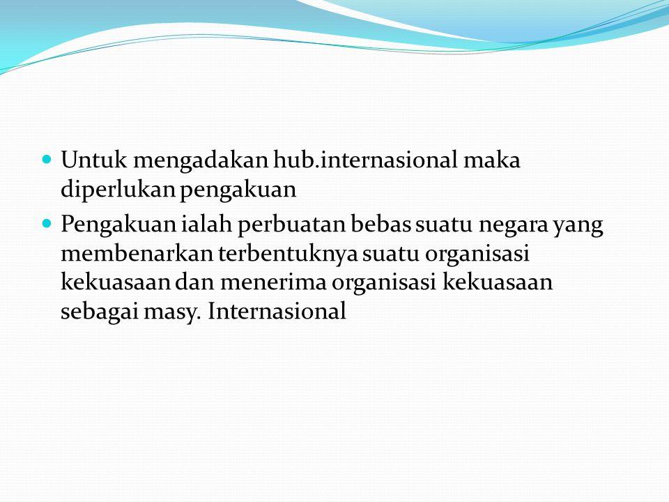 Untuk mengadakan hub.internasional maka diperlukan pengakuan