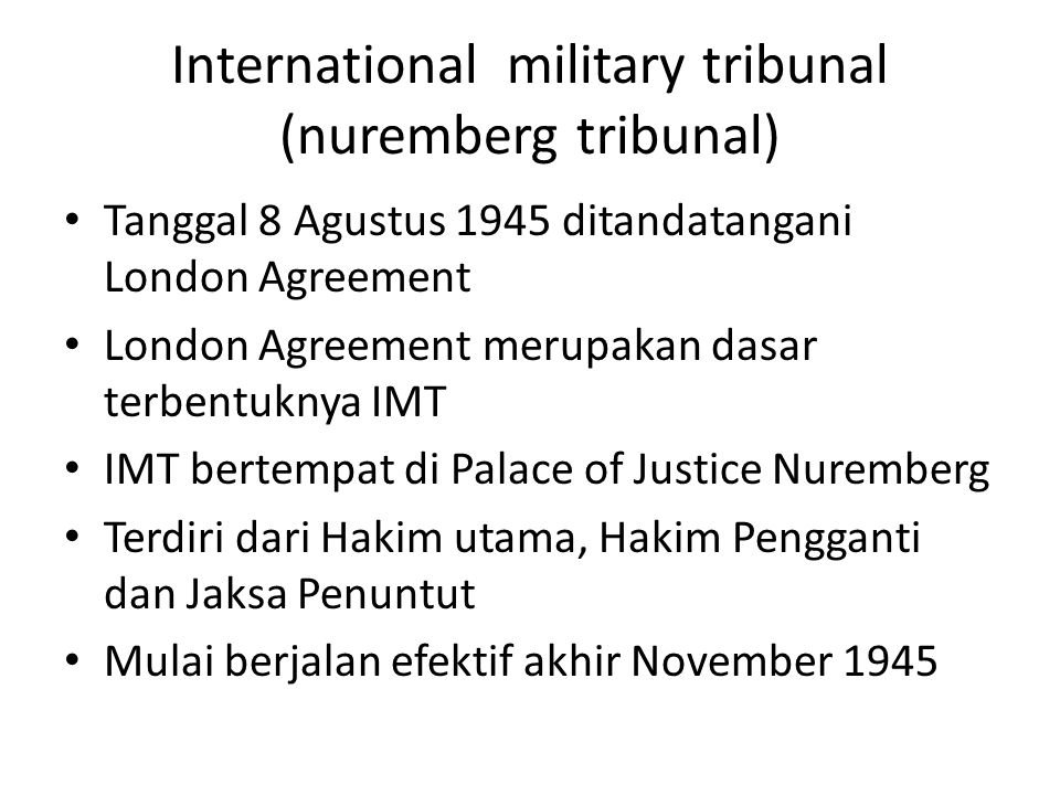 International military tribunal (nuremberg tribunal)