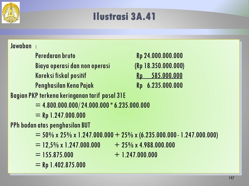 Ilustrasi 3A.41 Jawaban : Peredaran bruto Rp 24.000.000.000