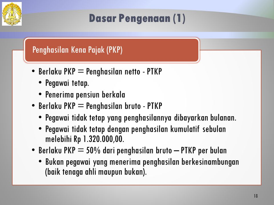 Dasar Pengenaan (1) Berlaku PKP = Penghasilan netto - PTKP