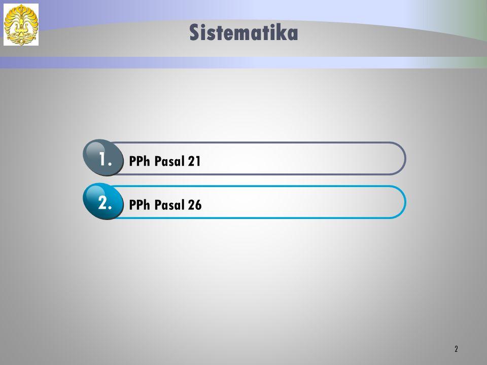 Sistematika PPh Pasal 21 1. PPh Pasal 26 2.