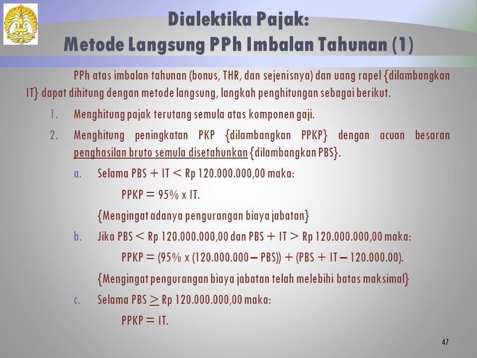 Dialektika Pajak: Metode Langsung PPh Imbalan Tahunan (1)