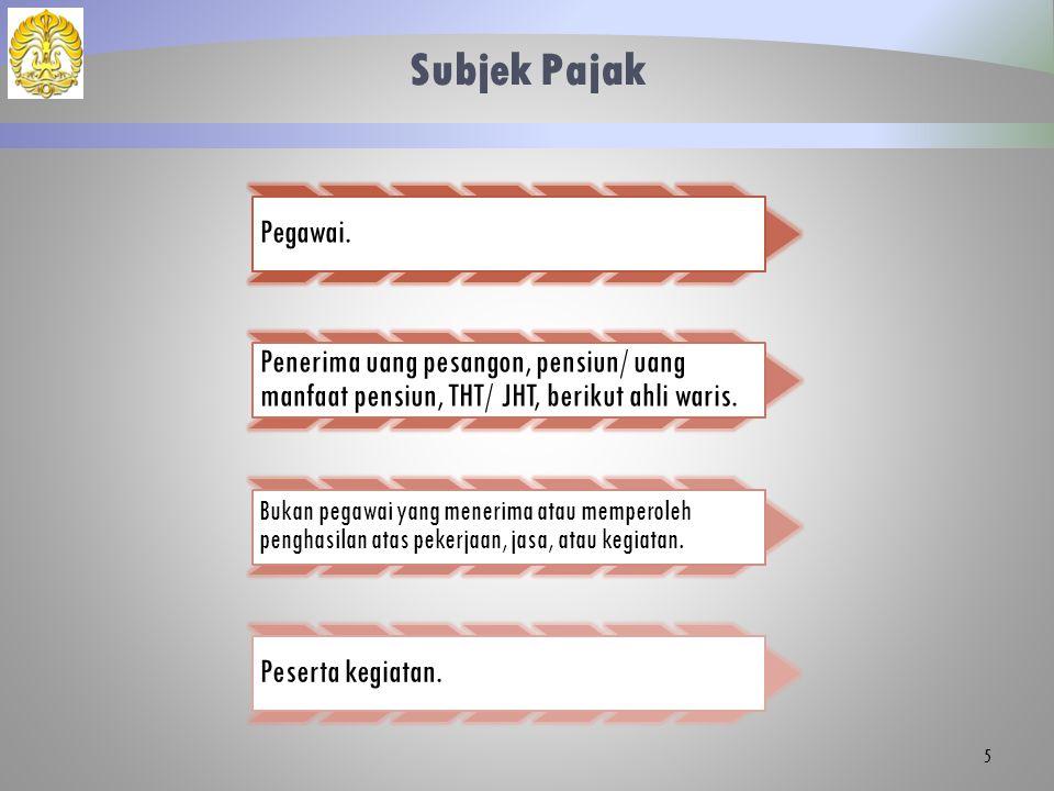 Subjek Pajak Pegawai. Penerima uang pesangon, pensiun/ uang manfaat pensiun, THT/ JHT, berikut ahli waris.