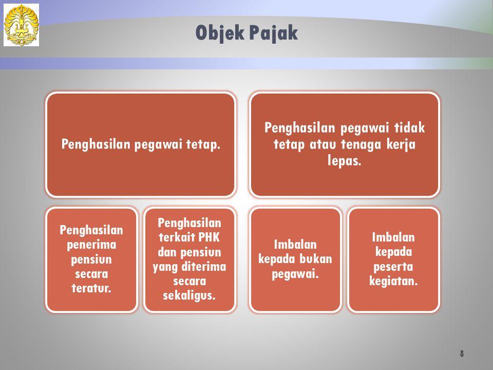 Objek Pajak Penghasilan pegawai tidak tetap atau tenaga kerja lepas.