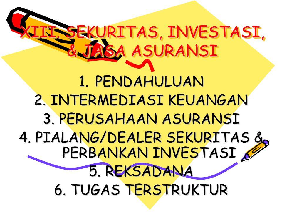 XIII. SEKURITAS, INVESTASI, & JASA ASURANSI