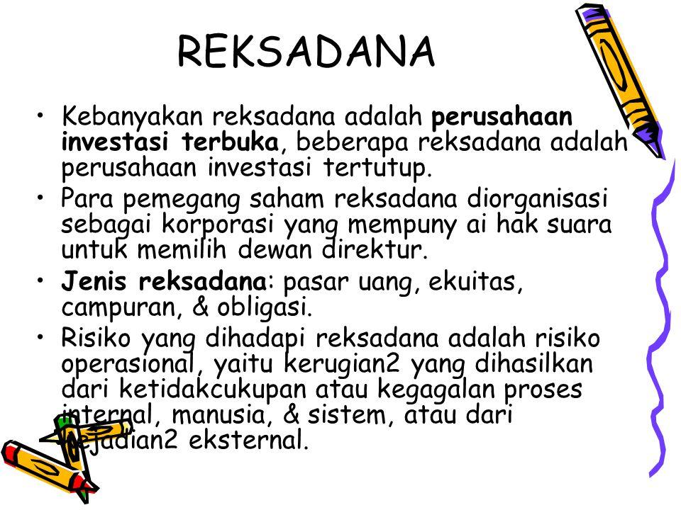 REKSADANA Kebanyakan reksadana adalah perusahaan investasi terbuka, beberapa reksadana adalah perusahaan investasi tertutup.