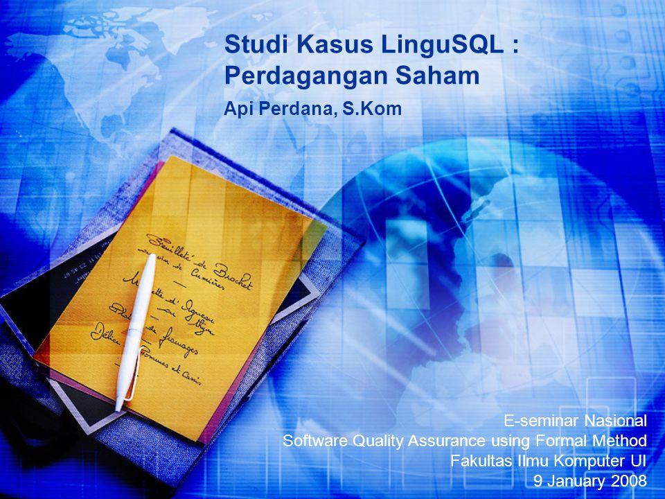 Studi Kasus LinguSQL : Perdagangan Saham