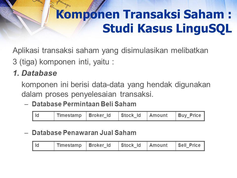 Komponen Transaksi Saham : Studi Kasus LinguSQL