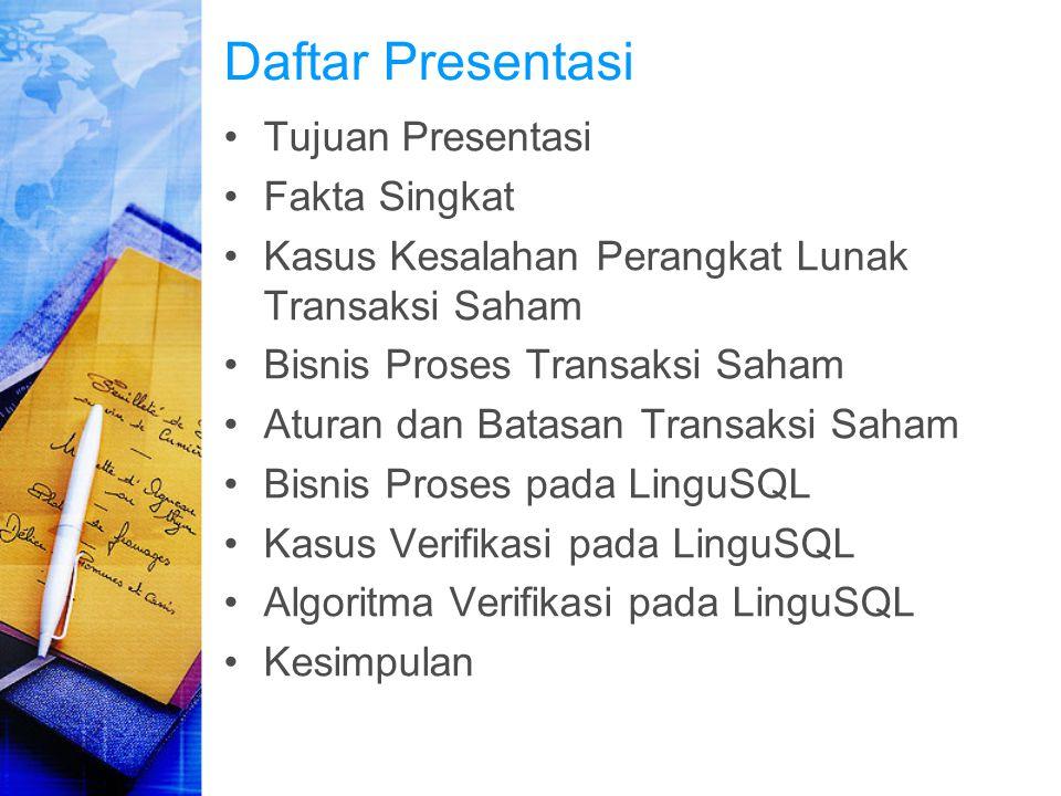 Daftar Presentasi Tujuan Presentasi Fakta Singkat